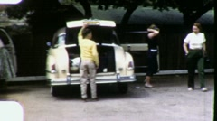 Car Parking Lot Family Vacation Circa 1955 (Vintage Film Home Movie) 1822 Stock Footage