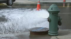 1 of 2 Fire Hydrant Spraying - stock footage