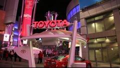 "Holiday season - Toyota display at ""LA live"" at night - Los Angeles, CA Stock Footage"