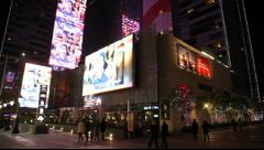 Staples Nokia Microsoft square digital billboards at L.A.LIVE in Los Angeles Stock Footage