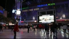 Holiday season - Staples Center Ice Skating Rink at night - Los Angeles, CA Stock Footage