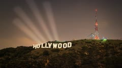 Hollywood sign with spot lights Stock Footage
