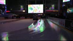 "Nokia Theatre, ""L.A. LIVE"" at night,  Ice Skating Rink - Los Angeles, CA - stock footage"