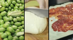 Italian flag with typical Italian food - Olives, mozzarella and pizza Stock Footage