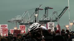 Cranes and Protesters Stock Footage