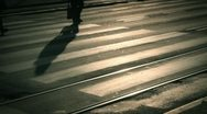 Silhouettes of Pedestrians Crossing the Street Stock Footage