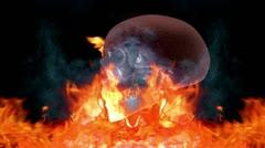 Skull - fire Stock Footage