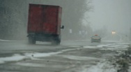 Stock Video Footage of  wet road, snowy, road 004