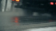 Stock Video Footage of  wet road, snowy, road 014