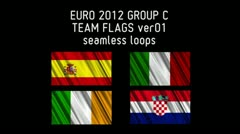 EURO 2012 Group C Flags 01 Stock Footage