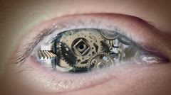 Eye Of Machine Stock Footage