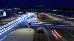 Time lapse sequence of a busy snowy intersection in Reykjavik, Iceland - stock footage