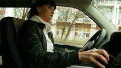 Woman driving Stock Footage