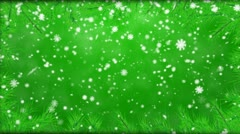 Winter background with falling snowflakes, fur-tree branches Stock Footage
