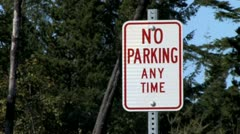 No Parking Anytime Sign Stock Footage
