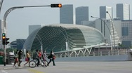 Time lapse and view of Singapore, Asia city with buildings, traffic and people Stock Footage