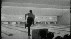 Man Throws Bowling Ball Bowling Alley Sport 1960s Vintage Film Home Movie 1850 Stock Footage