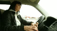 Woman At The Wheel Stock Footage