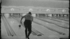 Man Throws Bowling Ball Bowling Alley Sport 1960s Vintage Film Home Movie 1856 Stock Footage