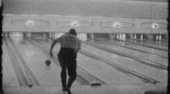 Man Throws Bowling Ball Bowling Alley Circa 1965 (Vintage Film Home Movie) 1856 Stock Footage