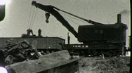 Stock Video Footage of REPAIR CREW Train Wreck Boxcars on Bridge 1930s (Vintage Film Home Movie) 1857