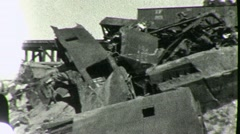 Disaster TRAIN WRECK Derailed Boxcars Bridge 1930s Vintage Film Home Movie 1858 - stock footage