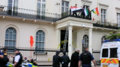 Protestors occupy Syrian Embassy in London Stock Footage