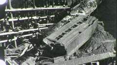 DERAILED Train Wreck Boxcars on Bridge 1930s Vintage Film Home Movie 1860 Stock Footage