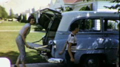 Packing Family Car VACATION Trip Suburban USA 1950s Vintage Film Home Movie 1864 Stock Footage