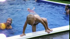 Children Play at Swimming Pool KIDS Fun SWIM 1960s Vintage Film Home Movie 1867 Stock Footage