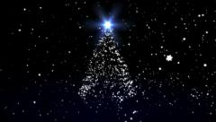 Christmas fur-tree against the moon and snow Stock Footage