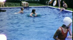 Children Play Swimming Pool Party Summer Fun 1960s Vintage Film Home Movie 1869 Stock Footage