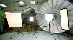 Young model walk inside photo studio Stock Footage