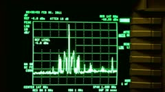 Curve moves on display of oscilloscope, some buttons on edge of screen Stock Footage
