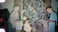 Stock Video Footage of CHRISTMAS MORNING Circa 1955 (Vintage 8mm Home Movie) 1872