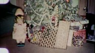 Christmas Holiday Presents Under Tree Decorations Vintage Film Home Movie 1870 Stock Footage