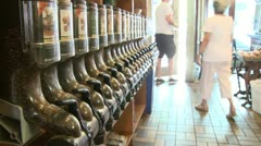 Coffee shop with coffee bean dispensers along wall(2 of 2) Stock Footage