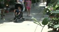Mother walking stroller and young child down sidewalk Stock Footage