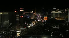 Wide view of the Las Vegas strip at night Stock Footage
