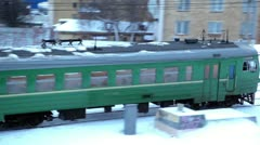 Train moves at industrial zone near Baumanskaya station Stock Footage