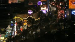 Looking down on the Las Vegas strip at night Stock Footage