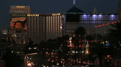 The Treasure Island and Mirage hotels in Las Vegas Stock Footage