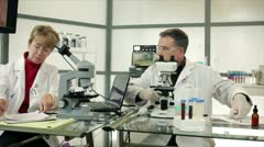 Scientists agreeing on results Stock Footage