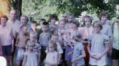 Cousins! BIG FAMILY REUNION Portrait 1960s Vintage Film 8mm Home Movie 1875 - stock footage