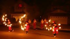 Few girls make fire show performance Stock Footage