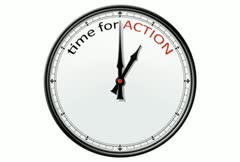Clock: time for ACTION - stock footage