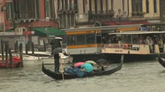 Venice Gondola in the rain Stock Footage