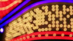 Casino lights on the Las Vegas strip - stock footage