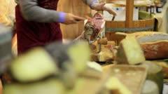 Expert caterer slicing ham - stock footage