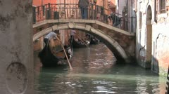 Gondola Under the Bridge Stock Footage